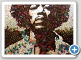 Jimi Hendrix mosaic portrait: creadted with thousands of Fender plectrums