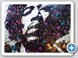 Jimi Hendrix Fender plectrum mosaic portrait: close up